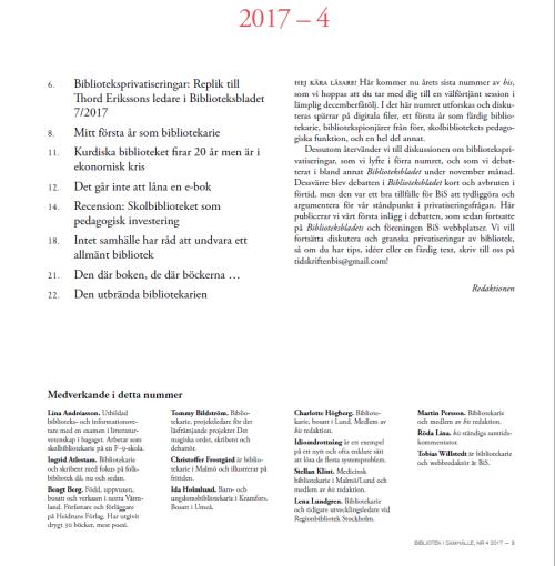 Innehåll och medverkande i bis 2017:04