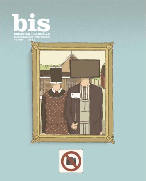 Omslag tidskriften bis 201704. En man och en kvinna med mobil- och datorskräm istället för huvud