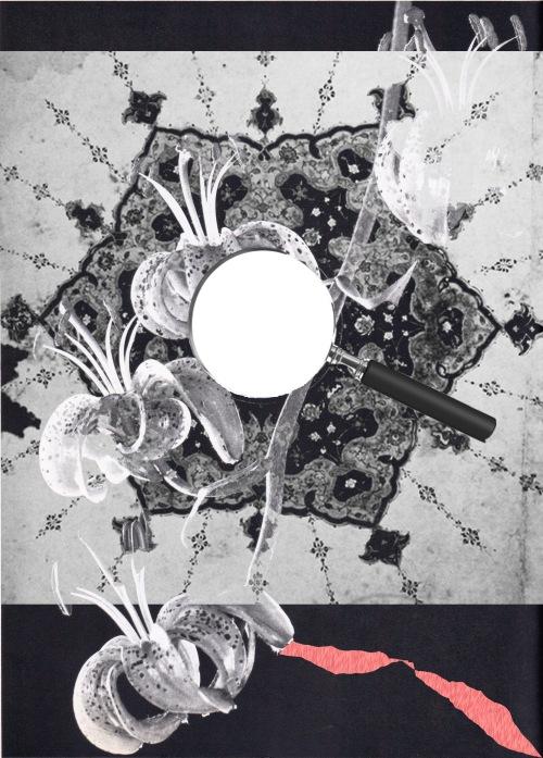 En illustration, Ett förstoringsglas, ett mönster och några orkidéer.