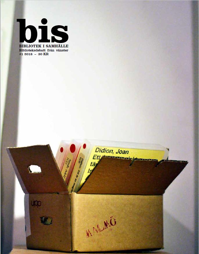 Omslag på bis 2018:01. På omslaget en flyttlåda med daisyböcker.