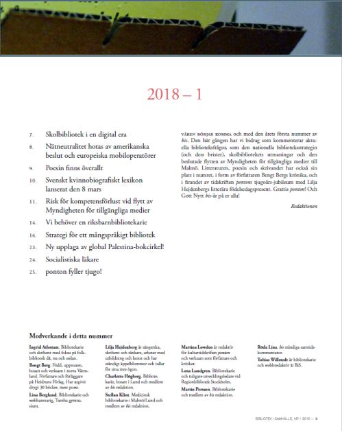 Innehåll och medverkande i bis 2018:01