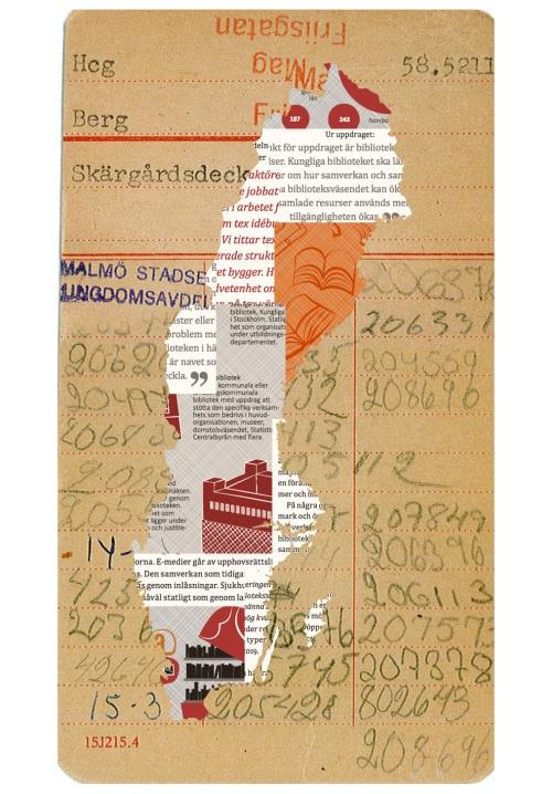 En Sverigekarta på ett bibliotekskort
