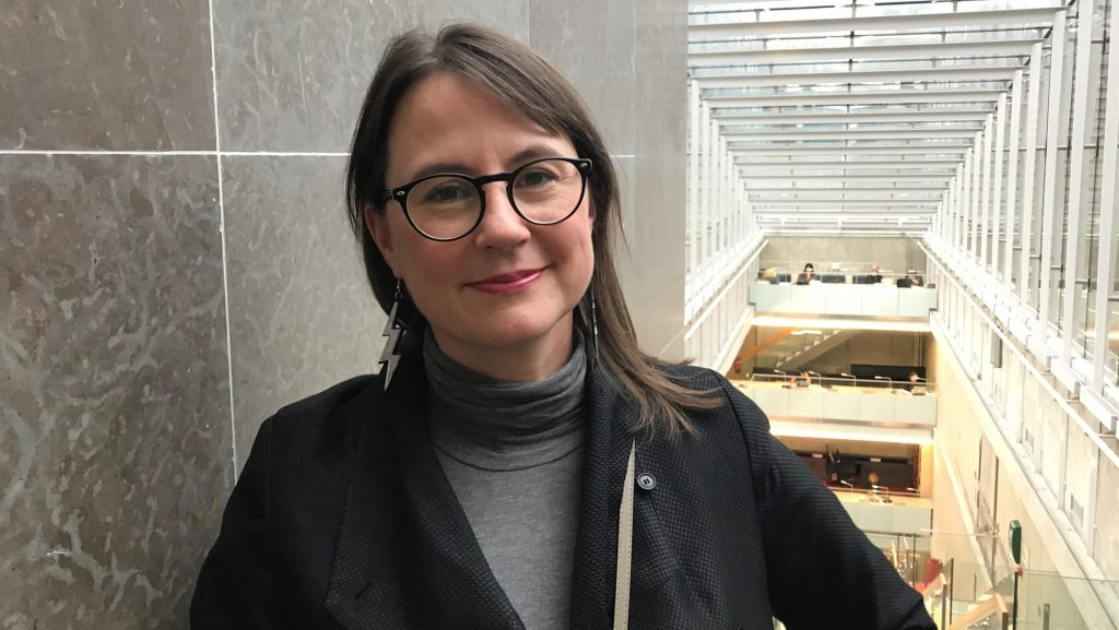 Pamela Schultz Nybacka, ansvarig för den nya bibliotekarieutbildningen på Södertörn. Foto: Eva Enarson.