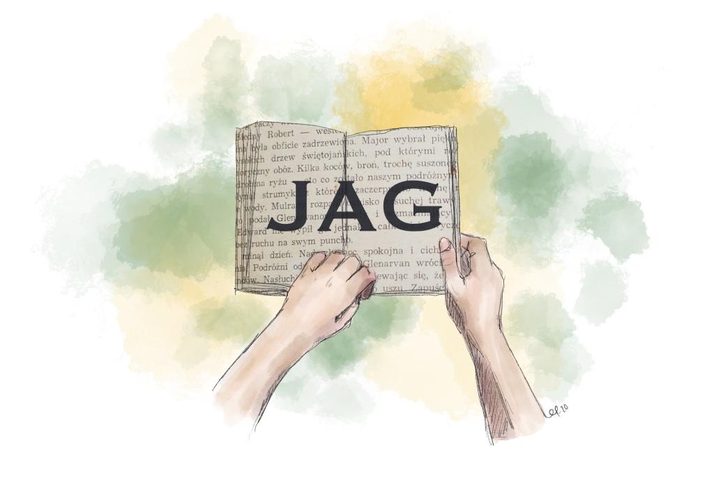 """Händer som håller en bok med texten """"JAG""""."""