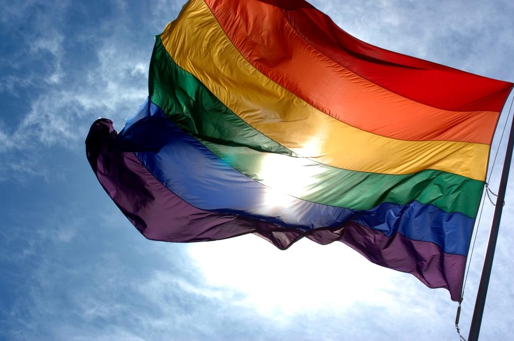 En regnbågsflagga vajar i vinden.